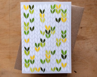Green lime yellow stocking stitch knit graphic - greeting card