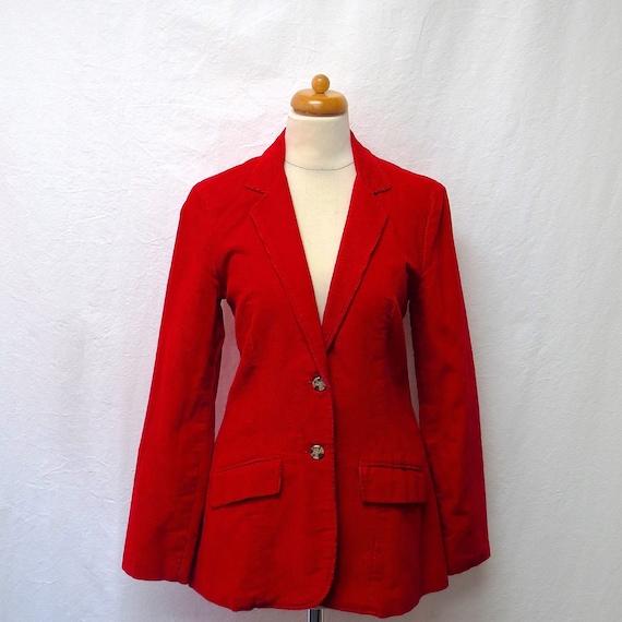 1970s Vintage Cotton Corduroy Jacket / Red Equestr