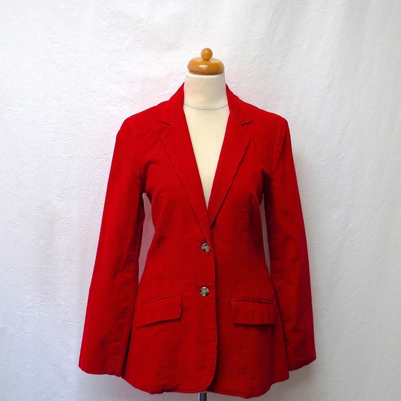 7eb3d12c8 1970s Vintage Equestrian Cotton Corduroy Jacket / Red Riding Jacket