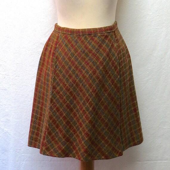 1960s Vintage Joseph Magnin Wool Skirt / Checked M