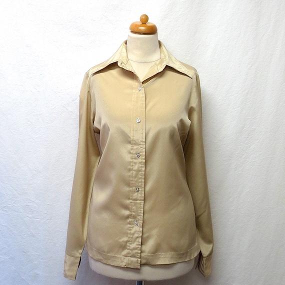 1970s Vintage Silky Shirt / Bisque Birds-eye Desig