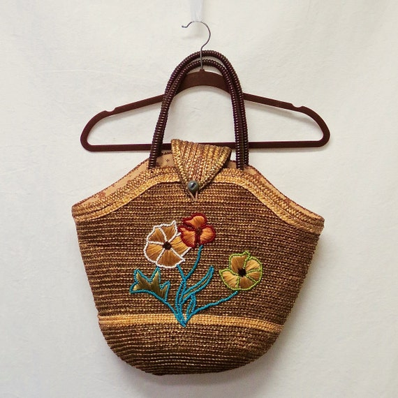 1940s / 50s Vintage Beaded Raffia & Straw Bag / Fl