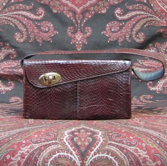 1940s / 50s Vintage Snakeskin Handbag / Dark Brown