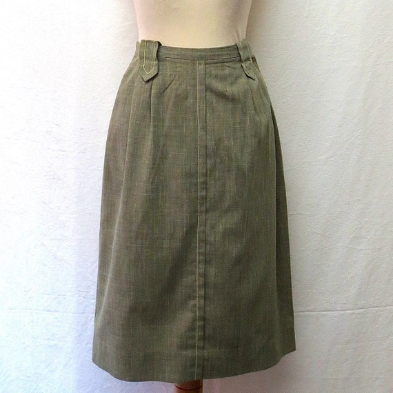 1940s / 50 Vintage Cotton Skirt / Green Military S