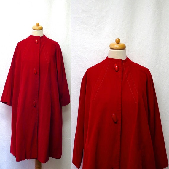 1940s / 50s Vintage Cotton Velvet Cape / Crimson R