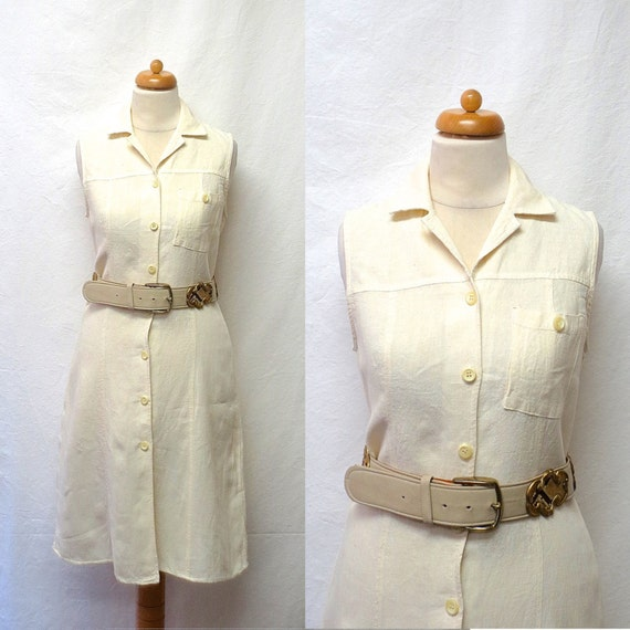 1990s Vintage Linen Dress / Cream Safari Style Shi