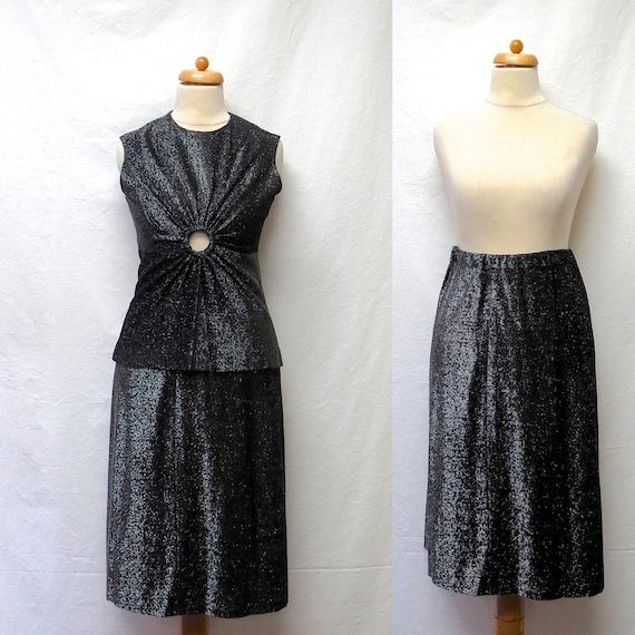 1960s / 70s Vintage Lurex Jersey Top & Skirt / Sil