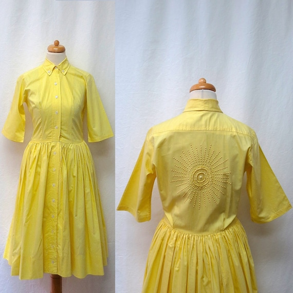 1950s Vintage Embellished Cotton Dress / Yellow Be