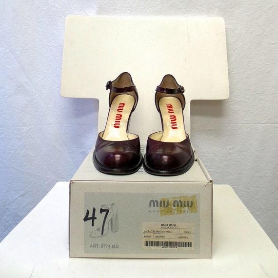 1990s Vintage Miu Miu Leather Shoes / Merlot Ankle