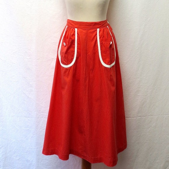 1950s Vintage Rope Trim Cotton Skirt / Coral & Whi