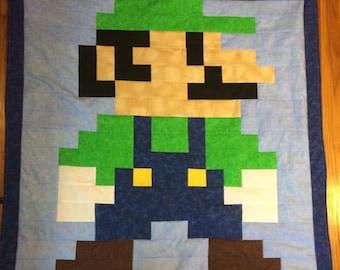 Lil Geek LUIGI Crib Quilt, Modern Colors