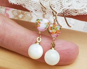 Japanese Glass and Mother of Pearl Dangle Earrings - Pink Heart - Pearl Drop