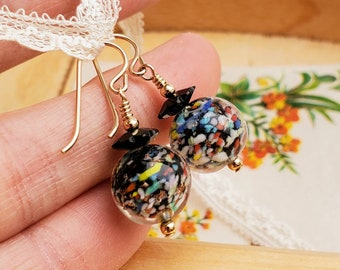 """Venetian Glass Earrings - Vintage """"End of Day"""" Glass Beads - Black and Confetti Colors"""
