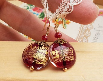 Raspberry Red and Gold Venetian Glass Earrings - Large Coin Shape - Gold Filled Earwires