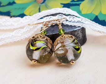 Round Glass Lampwork Earrings - Clear with Lime Green and Brown Swirls - Gold Filled Ear Wires