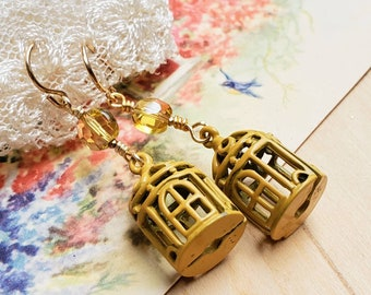 Golden Yellow Bird Cage Dangle Earrings with Small Crystal Beads - Gold FIlled Ear Wires