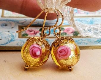 Bright Gold Venetian Glass Dangle Earrings - Pink Flowers - Gold Filled Ear Wires