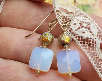 Milky Glass and Venetian Glass Dangle Earrings - Delicate and Feminine - Gold Filled Wire Wrapped