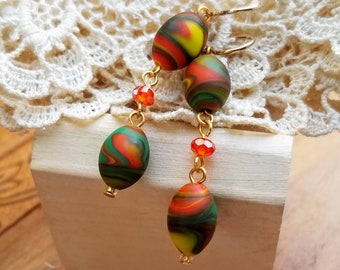 Marbled Orange, Green and Yellow Glass Dangle Earrings  - 3 Tiered - Bright Colors - Gold Filled Earwires