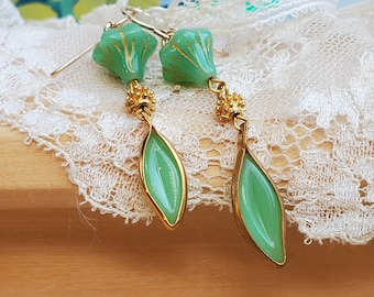 Unique Sage Green and Gold Dangle Earrings - Vintage Czech Glass - Gold Filled Ear Wires