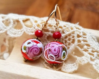 Red Venetian Glass Earrings -Gold Leaf Lampwork Beads - Wedding Cake Murano Glass - Gold Filled Earwires