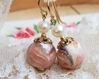 Marbled Venetian Glass Earrings with Mother of Pearl - Vintage Filigree Caps - Gold Filled Wires