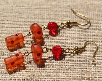 Christmas-Valentine's Day-Vintage Red Lucite Rhinestone Encrusted Gold Dangle Earrings