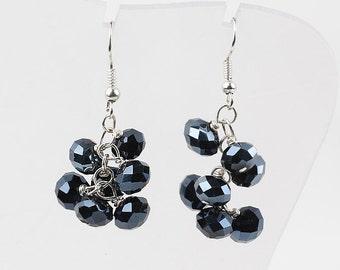 Black Crystal Cluster Earrings