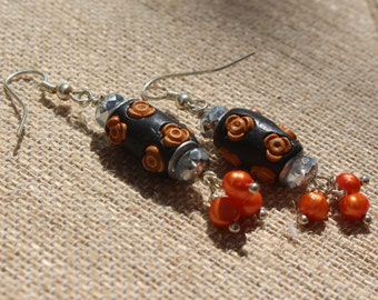 Thanksgiving-Flowers-Floral-Halloween-Orange and Black Freshwater Pearl Silver Dangle Earrings
