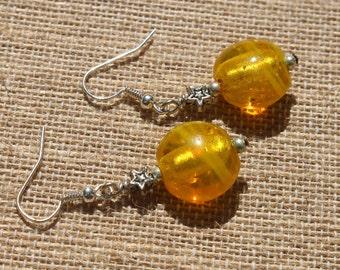 Catch a Falling Star-Yellow Glass Silver Dangle Earrings