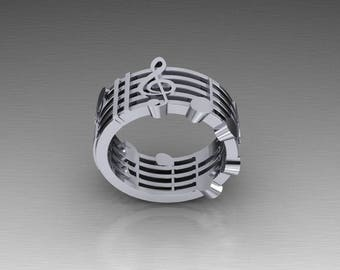 14k  Gold Music Note Ring