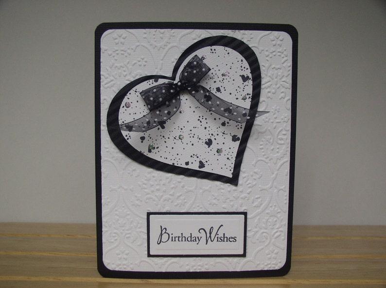 Happy Birthday Black and White Heart Handmade Card | Etsy