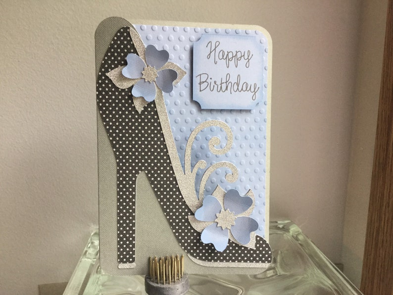 7d657b85deb Black and Silver High Heel Birthday card with Blue flowers