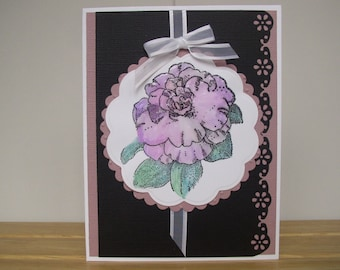Purple Rose Happy Mother's Day, Handmade Card