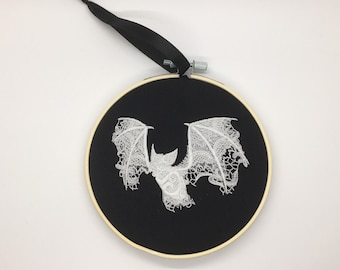 Gothic lace bat embroidery hoop glow in the dark alternative home decor pastel goth