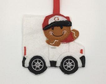 Delivery driver white van man gingerbread Christmas felt ornament decoration