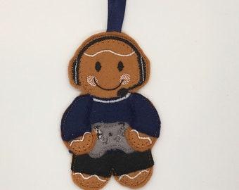 Gamer gingerbread Christmas felt ornament decoration