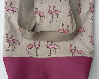 Flamingo linen cotton lined tote bag with leatherette base
