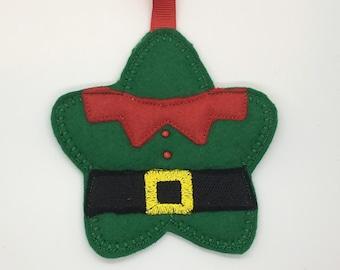 Cute felt star elf gingerbread ornament decoration