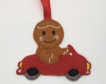 Dad sports car man gingerbread Christmas felt ornament decoration