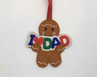 I love Dad Fathers Day gingerbread man person