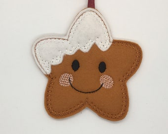 Cute felt star gingerbread ornament decoration