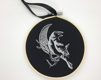 Gothic glow in the dark crow raven moon  embroidery hoop alternative home decor