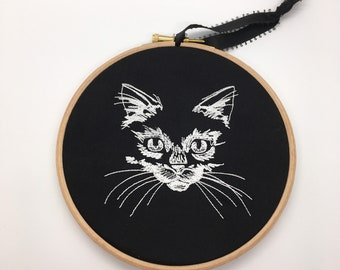 Gothic glow in the dark spooky cat embroidery hoop alternative home decor