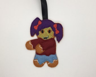 Zombie Halloween goth gingerbread gift Christmas decoration tag