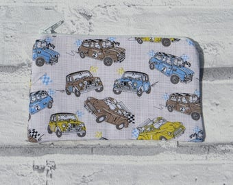Coin purse pouch - Mini Cooper / Beetle with white zip