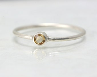 November Birthstone Ring - Citrine Birthstone Ring - Simple Birthstone Ring - Stacking Rings Citrine - Gemstone Ring Dainty