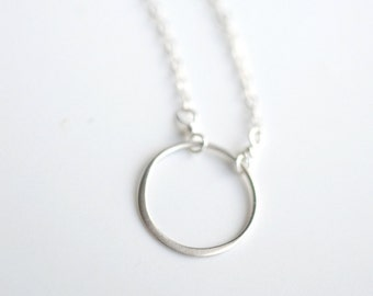 Silver Circle Necklace - Minimal Circle Necklace - Everyday Necklace - Everyday Circle Jewelry - Simple Circle Jewelry - Layering Necklace