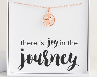 Rose Gold Filled Compass Necklace for Women, Inspirational Jewelry, Meaningful Gift for Daughter Best Friend Sister, Joy in the Journey Card