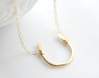 Horseshoe Necklace - Gold Lucky Necklace - Gift for Horse Lover - Good Luck Charm - Horseshoe Lucky Charm - Gold Horseshoe Necklace
